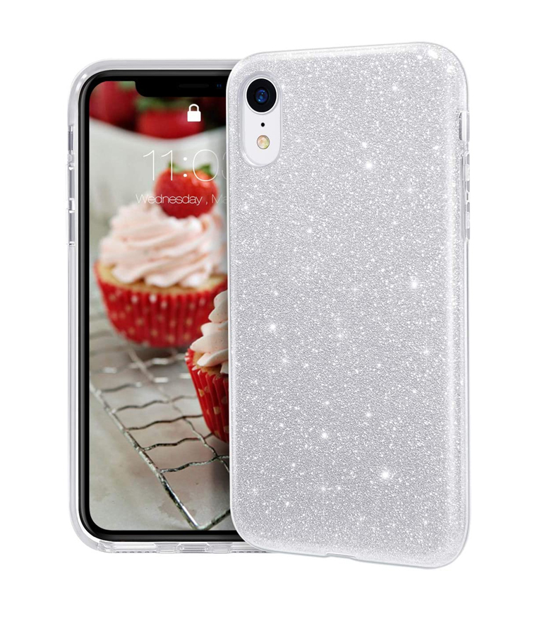 FUNDA IPHONE XR GLITTER PLATA